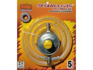 Kit regulador de gás 2kg grande c/ mangueira 1,20m
