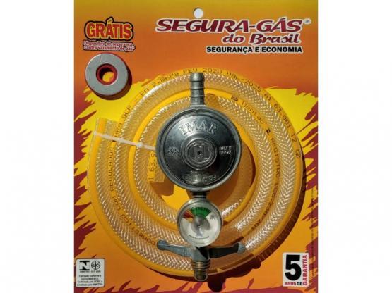 Kit regulador de gás 1kg manômetro c/mangueira 1,20m
